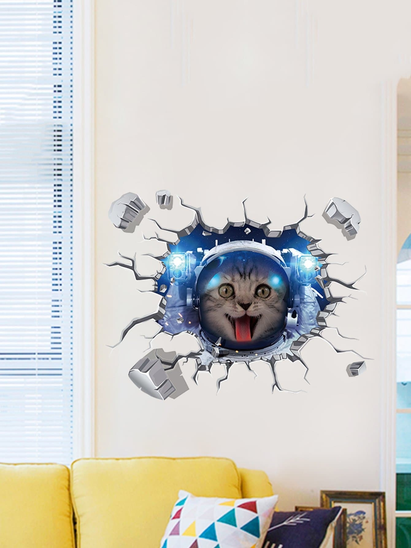3D Cat Wall Decal double wine wall decal