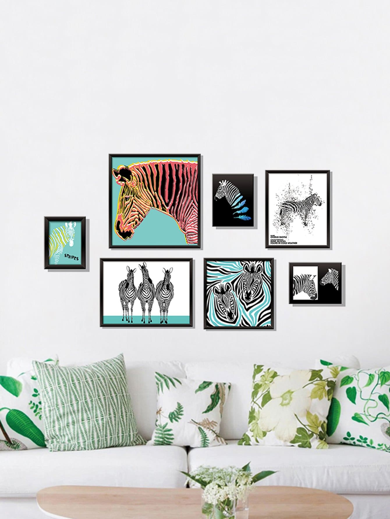 3D Zebra Print With Fake Frame Wall Stickers fashion letters and zebra pattern removeable wall stickers for bedroom decor