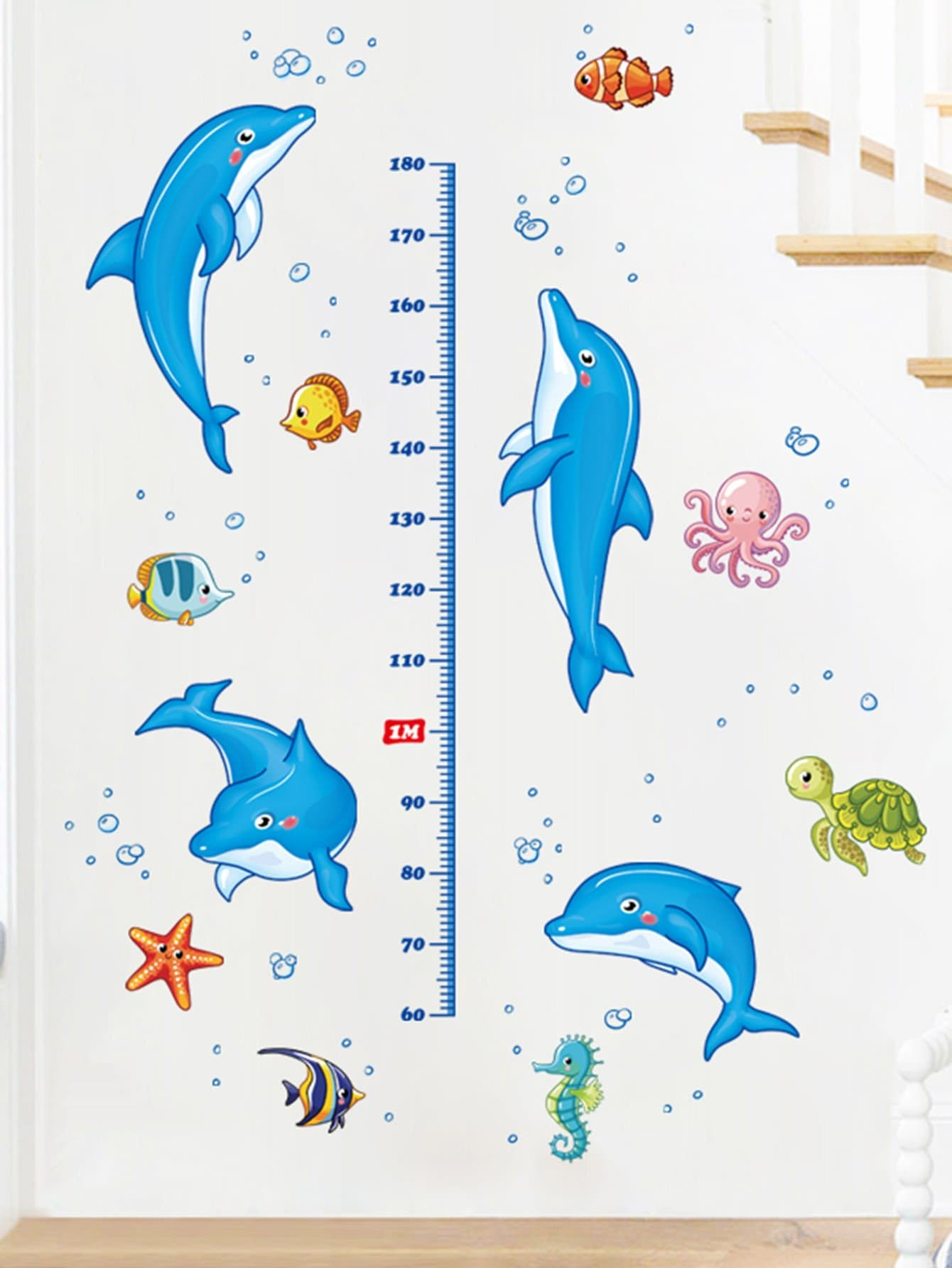 Фото Cartoon Dolphin Height Removable Wall Sticker family wall quote removable wall stickers home decal art mural
