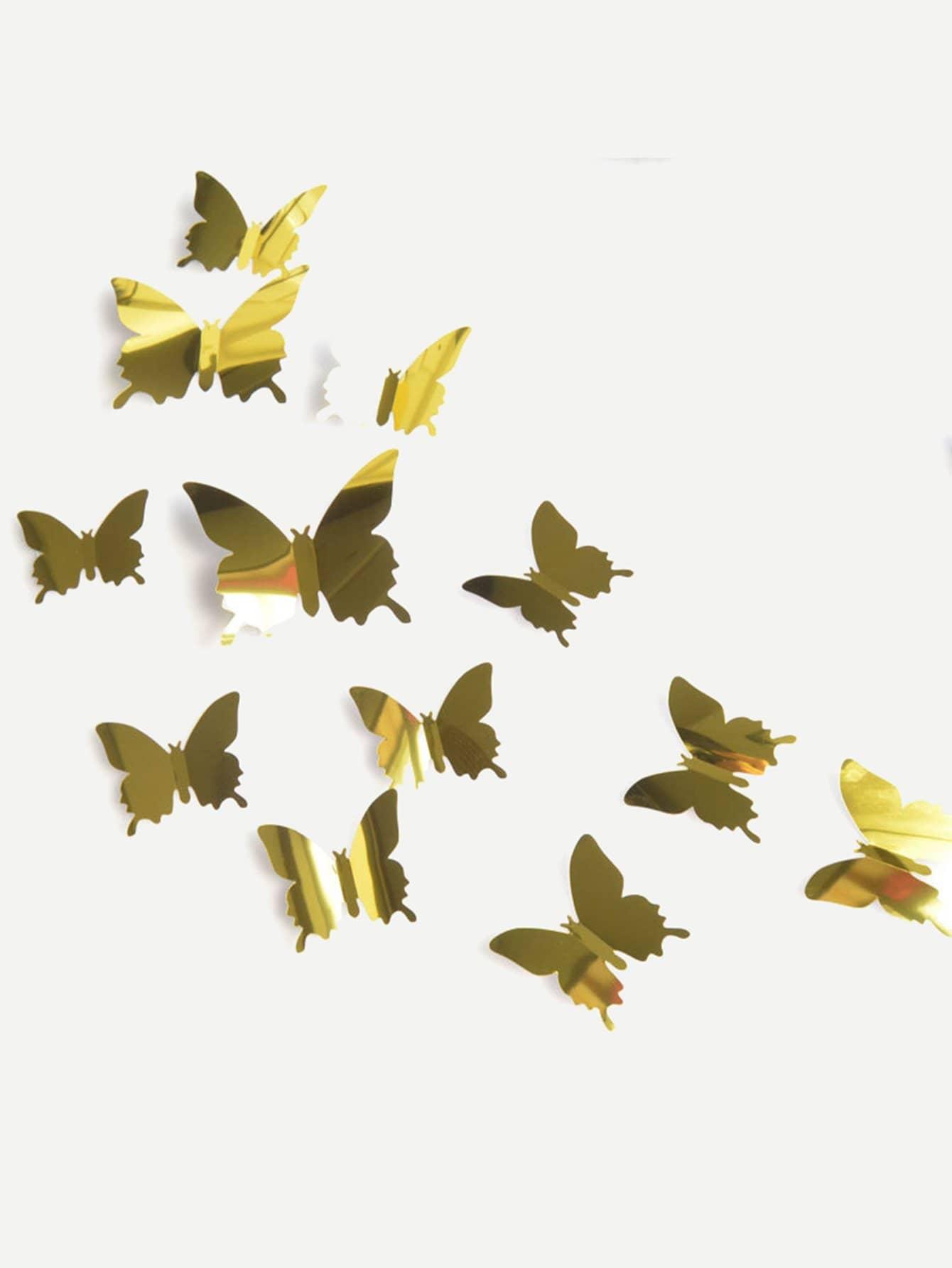 12Pcs 3D Stereoscopic Butterfly Wall Sticker canvas stereoscopic decorative wall sticker 6pcs