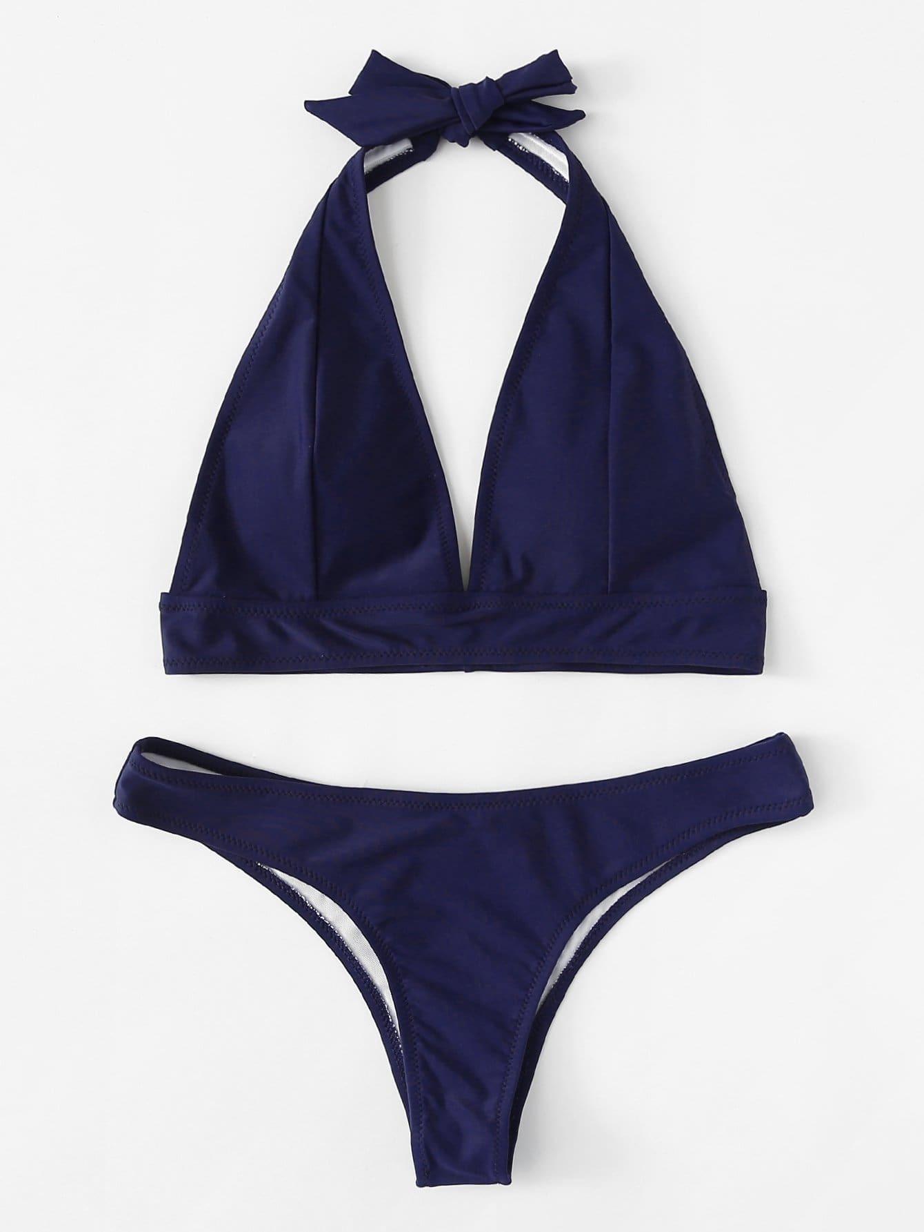 Купить Plain Halter Bikini Set, null, SheIn