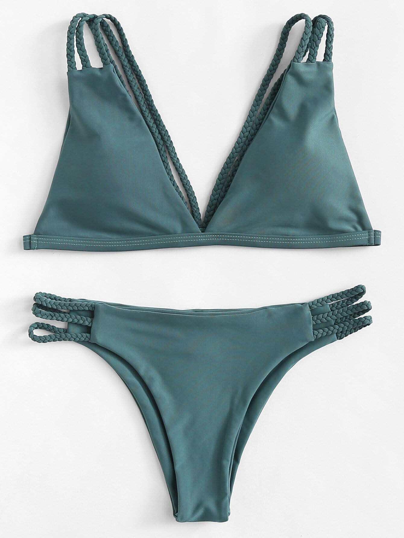 Купить Braided Straps Bikini Set, null, SheIn