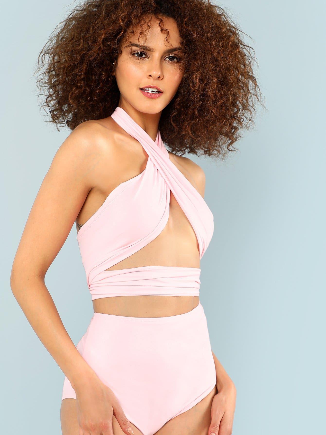 Cross Wrap Halter High Waist Bikini Set halter patterned wrap bikini