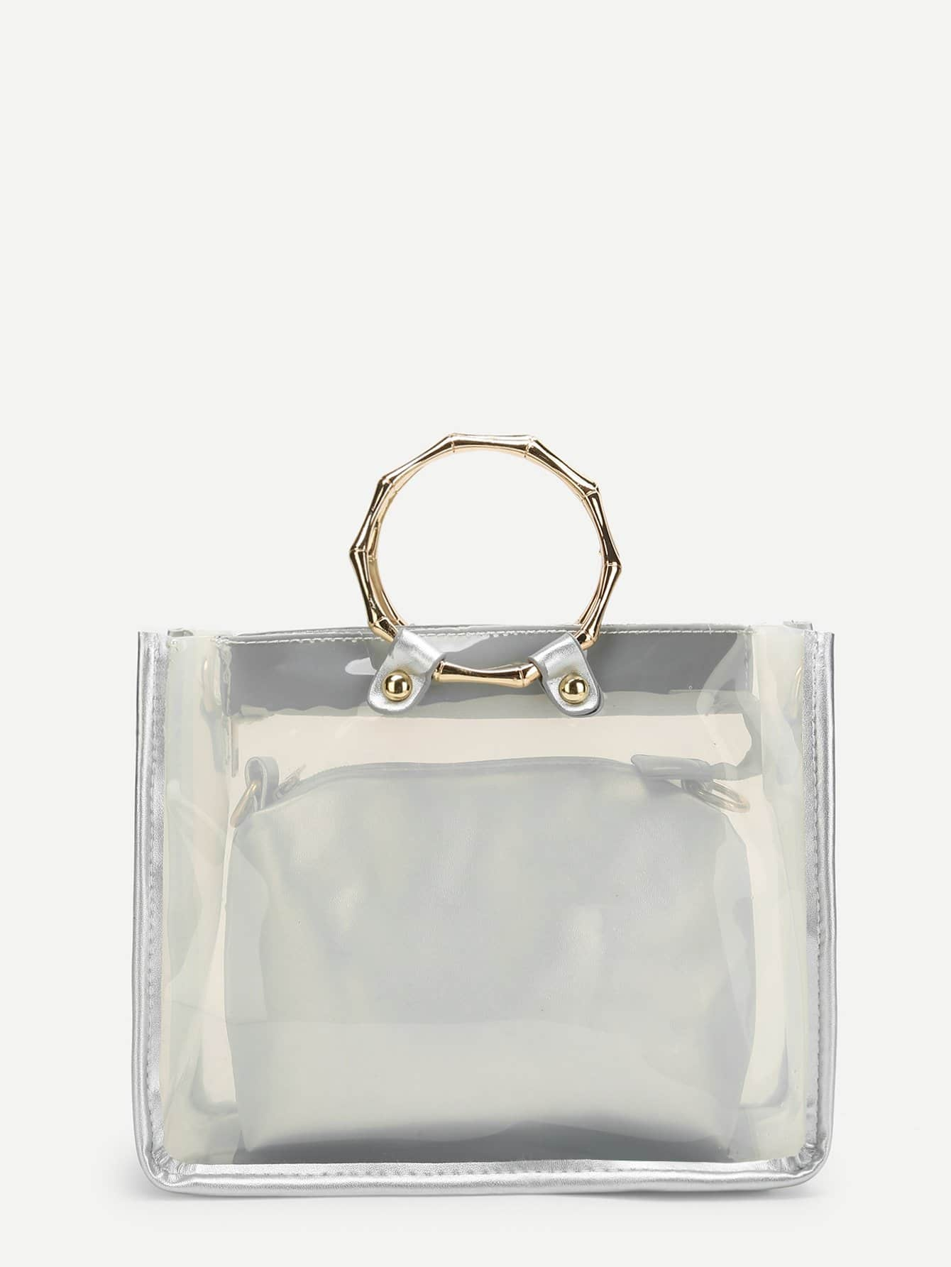 Double Handle Clear Bag With Inner Clutch woven bag with double handle
