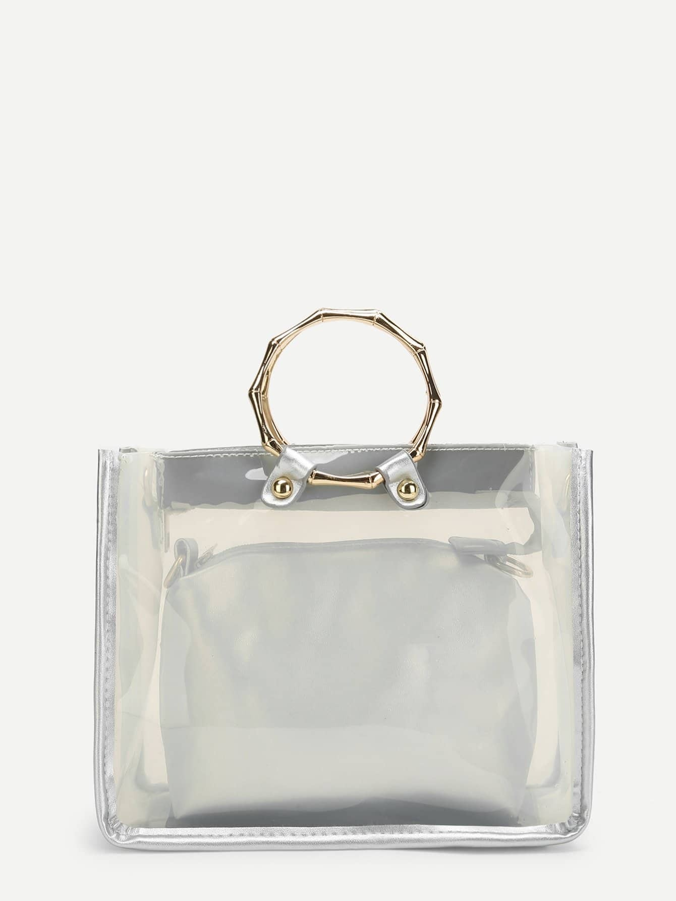 Double Handle Clear Bag With Inner Clutch transparent envelope clutch bag