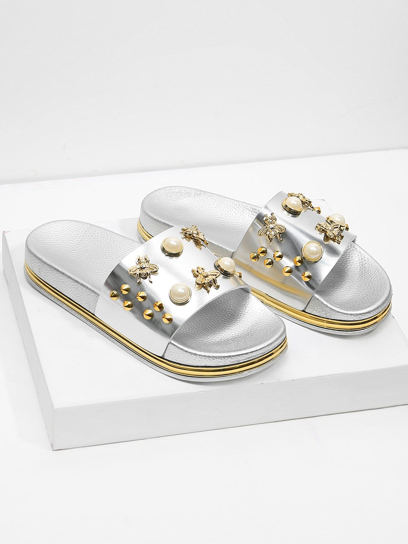 Faux Pearl Decorated Slippers characteristic faux crystal beads decorated faux pearl embellished barefoot sandal for women (one piece