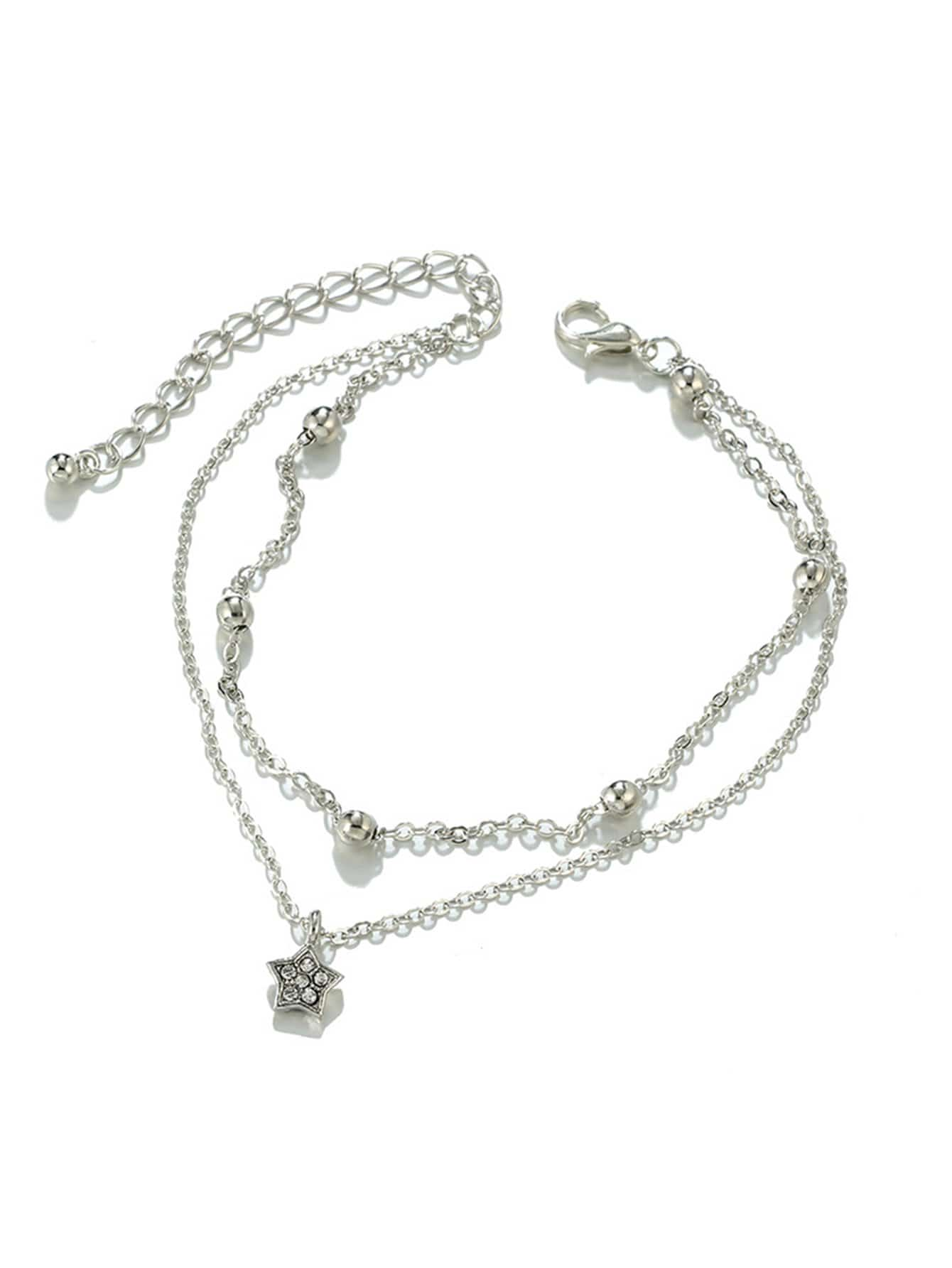 Star Charm Layered Chain Anklet ring front layered chain anklet