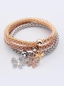 Butterfly Rhinestone Bracelet Set 3pcs