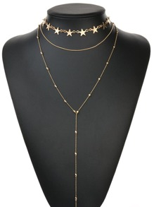 Star Detail Layered Necklace 2pcs