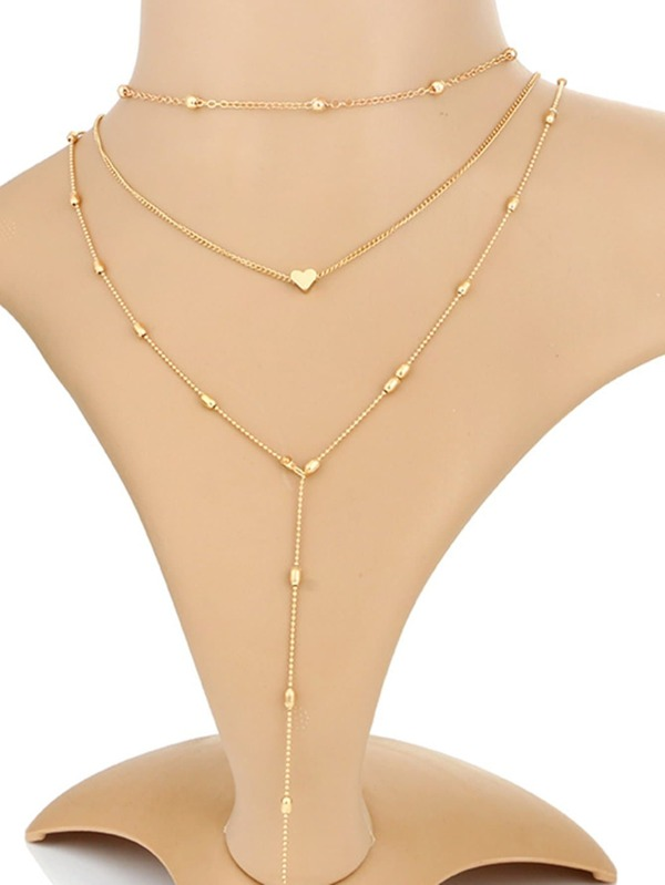 Heart Detail Chain Necklace Set 3pcs by Sheinside