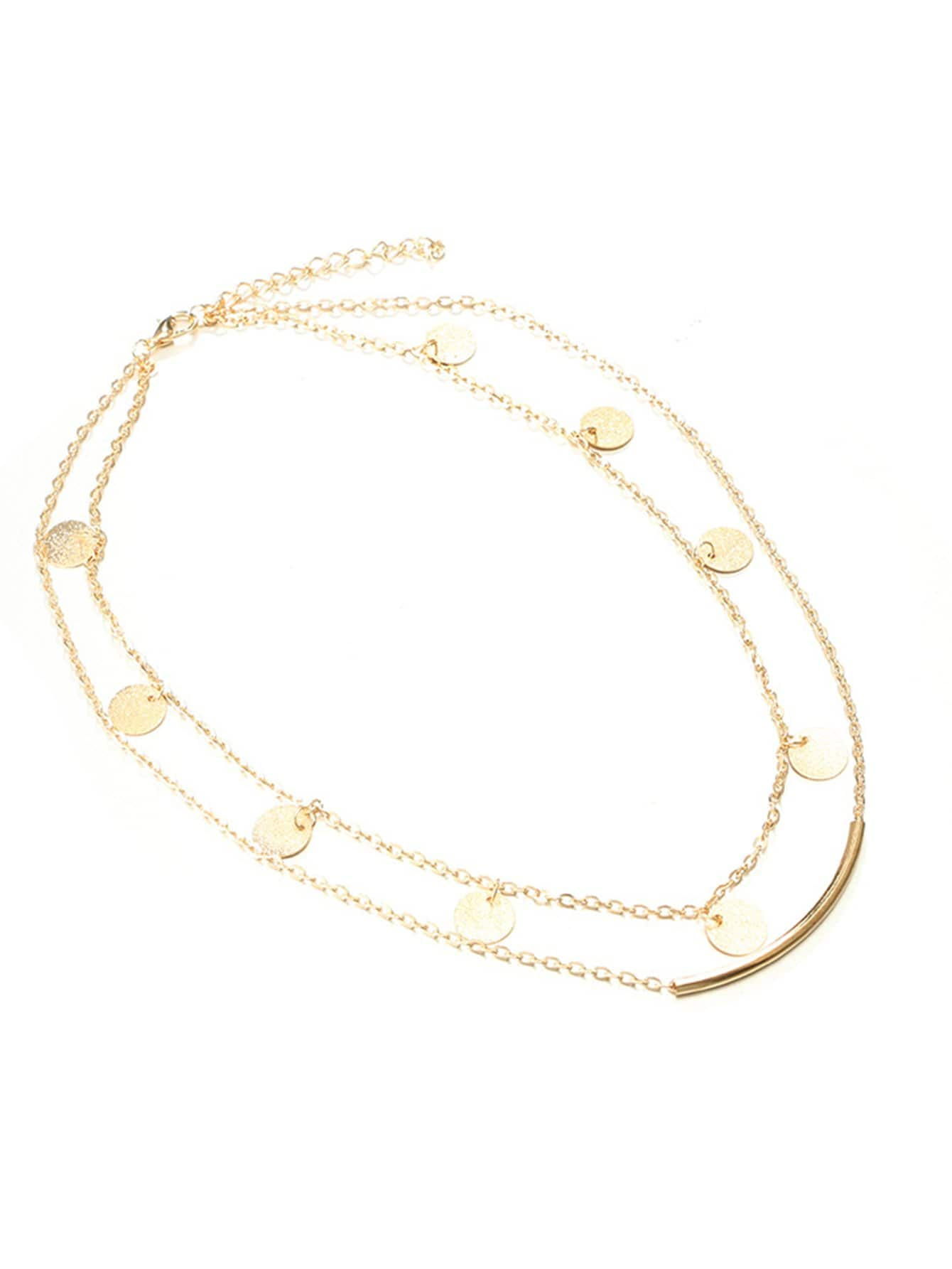 Bar & Round Detail Layered Chain Necklace