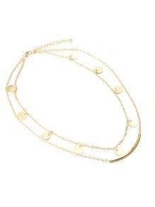 Bar & Round Detail Layered Chain Necklace