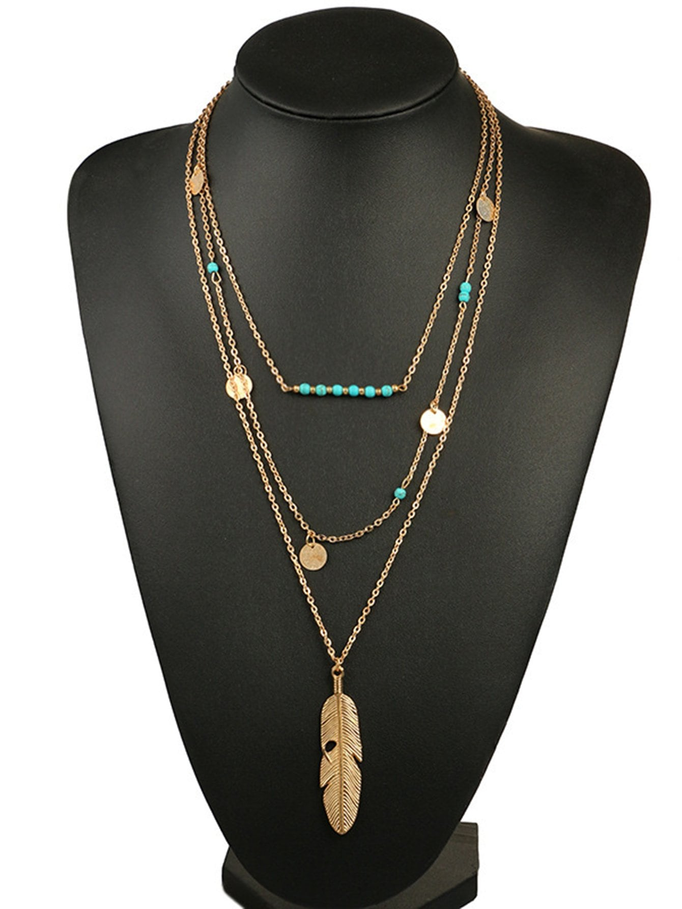 Feather Pendant Layered Chain Necklace cross pendant layered chain necklace