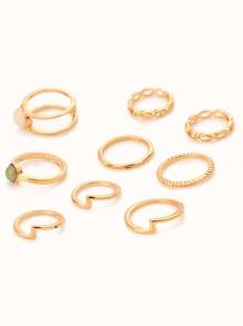 Multi Layered Gemstone Rings Set 9pcs