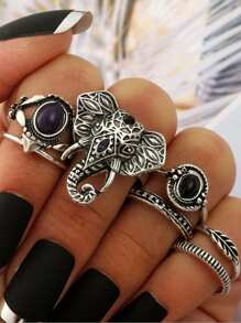 Elephant Rings Set 7pcs