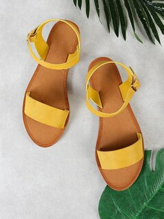 Single Band Ankle Strap Sandal MUSTARD