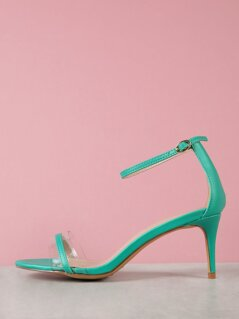 Clear Band Ankle Strap Heel