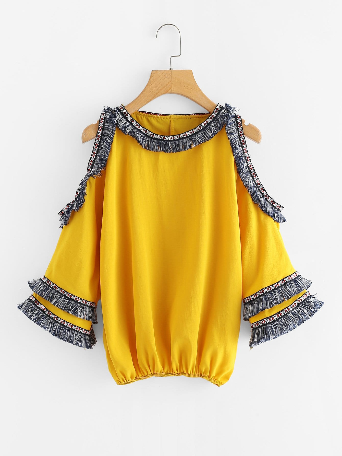 Cutout Sleeve Tassel Embroidered Tape Detail Blouse