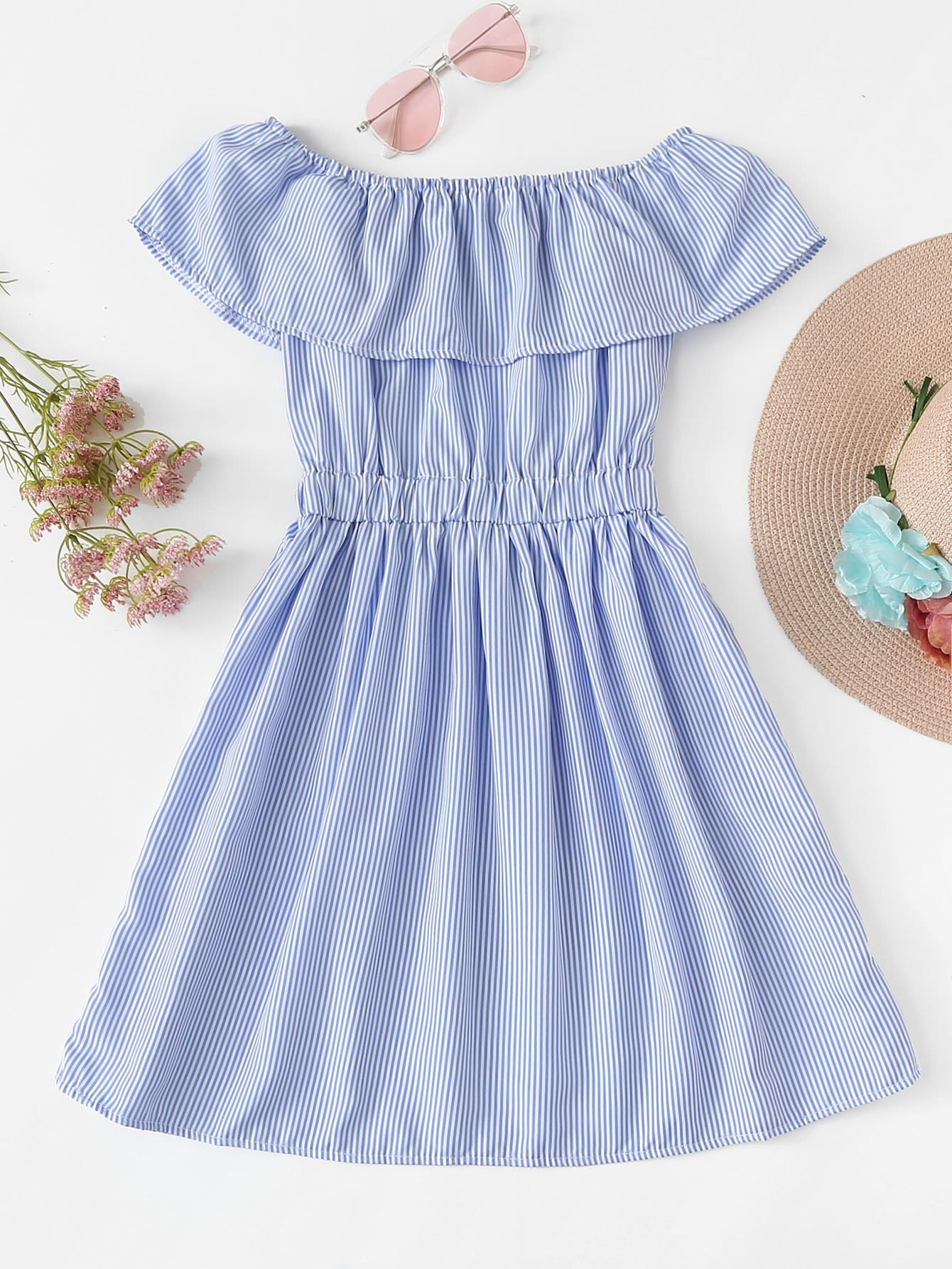 Off The Shoulder Striped Ruffle Dress