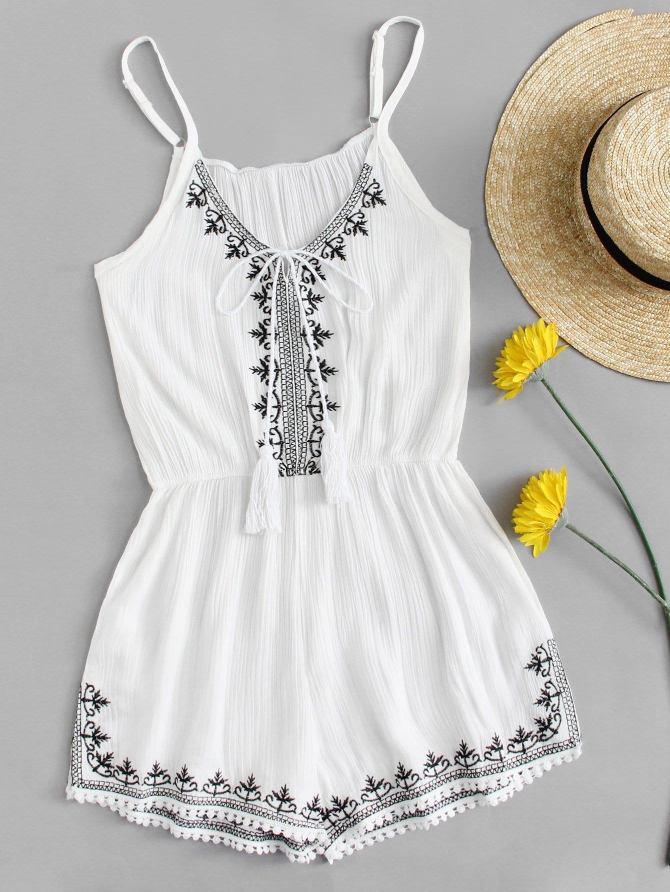 Купить Повседневный Геометрический с вышивкой Белый Комбинезон, null, SheIn