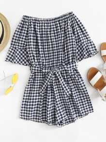 Off The Shoulder Gingham Romper ROMWE
