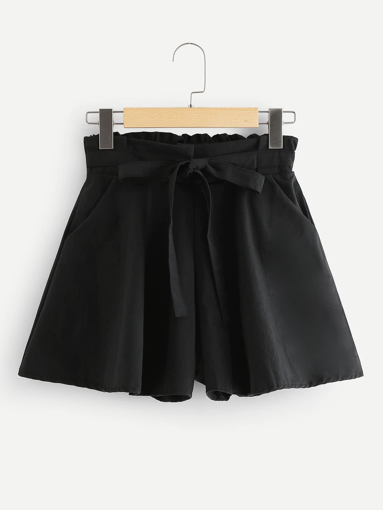 Ruffle Waist Bow Tie Shorts