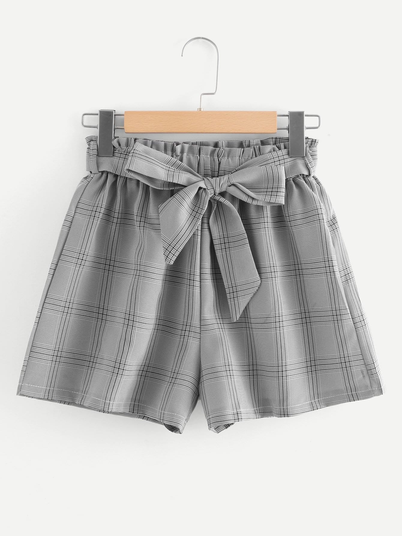 Plaid Ruffle Waist Shorts