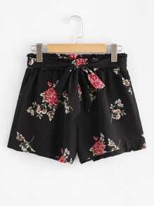 Floral Print Self-waist Shorts