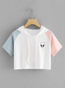 Colorblock Sleeve Alien Print Hoodie Sweatshirt