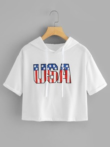 USA Print Drop Shoulder Hoodie T-shirt