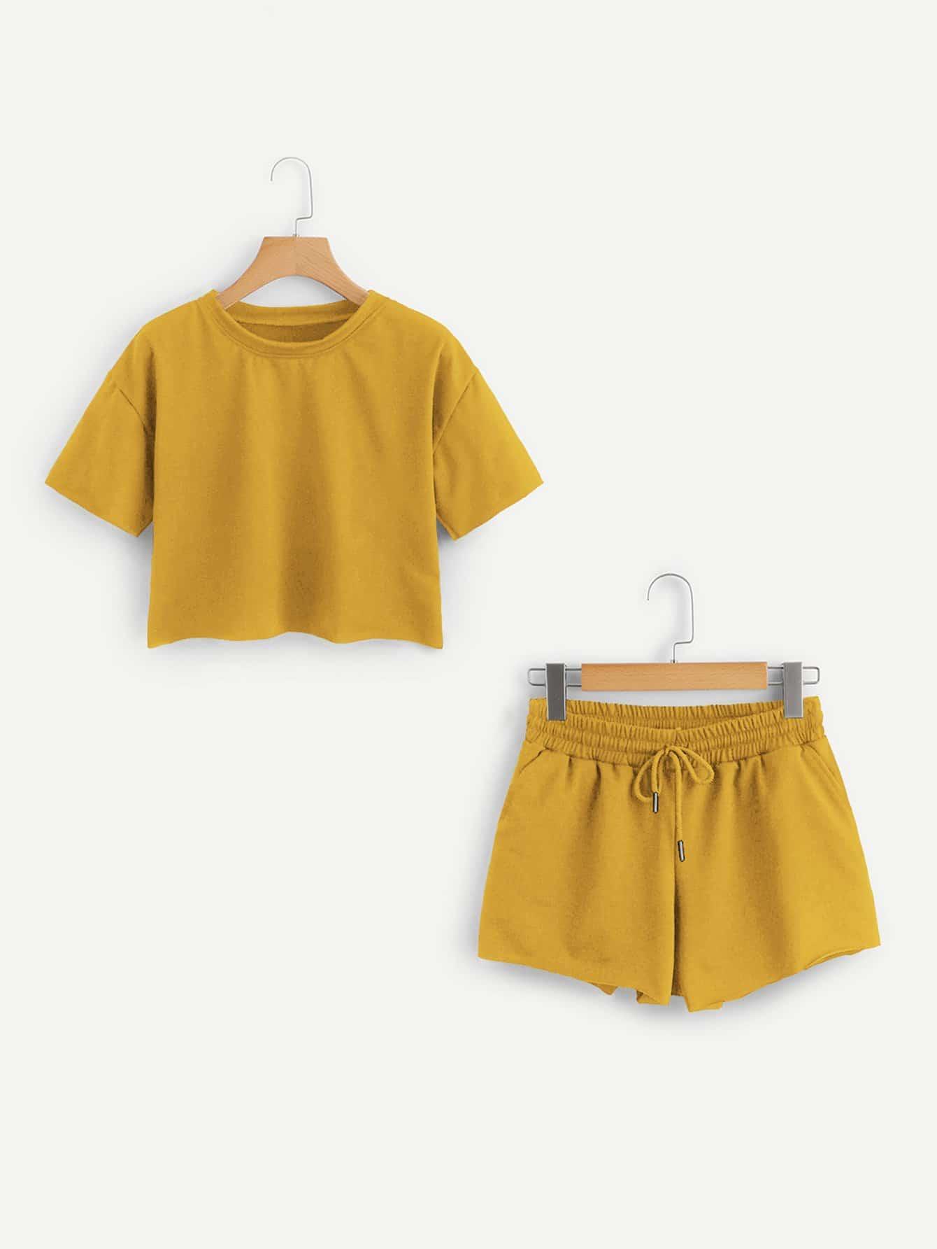 Round Neck Basic Tee With Ruffle Waist Shorts