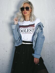 Striped And Letter Print Tee