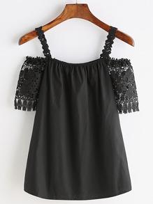 Black Crochet Lace Cold Shoulder Blouse