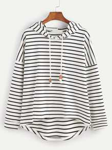 Black White Striped Drop Shoulder High Low Hooded Sweatshirt