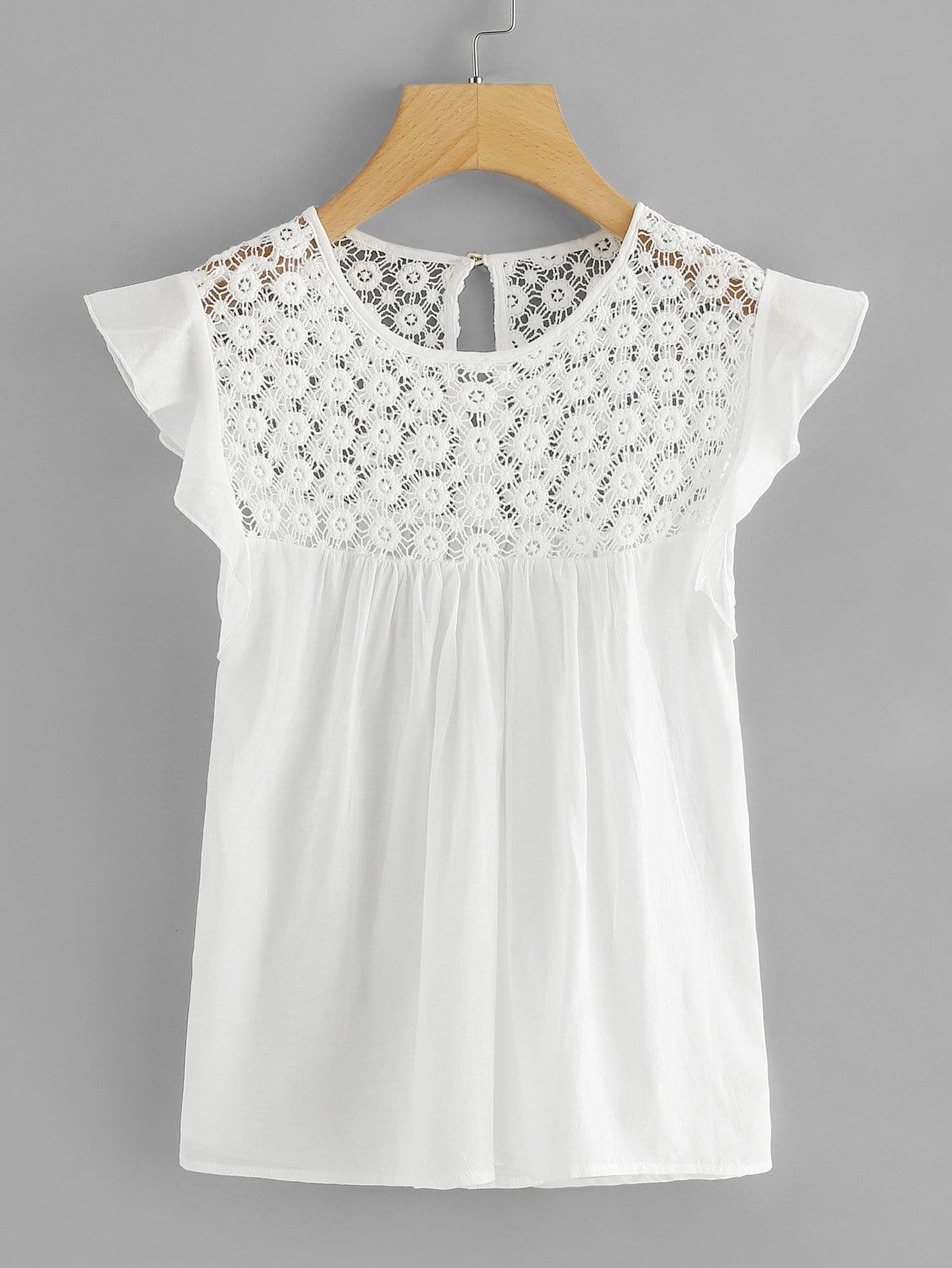 Hollow Crochet Frill Top frill detail crochet insert embroidered mesh top