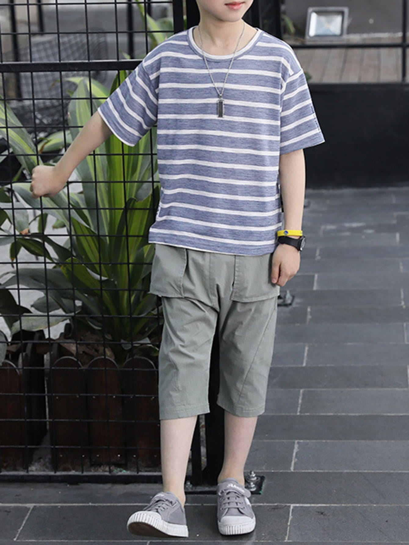 Kids Stripe Tee With Haren Pants rtwo180424359