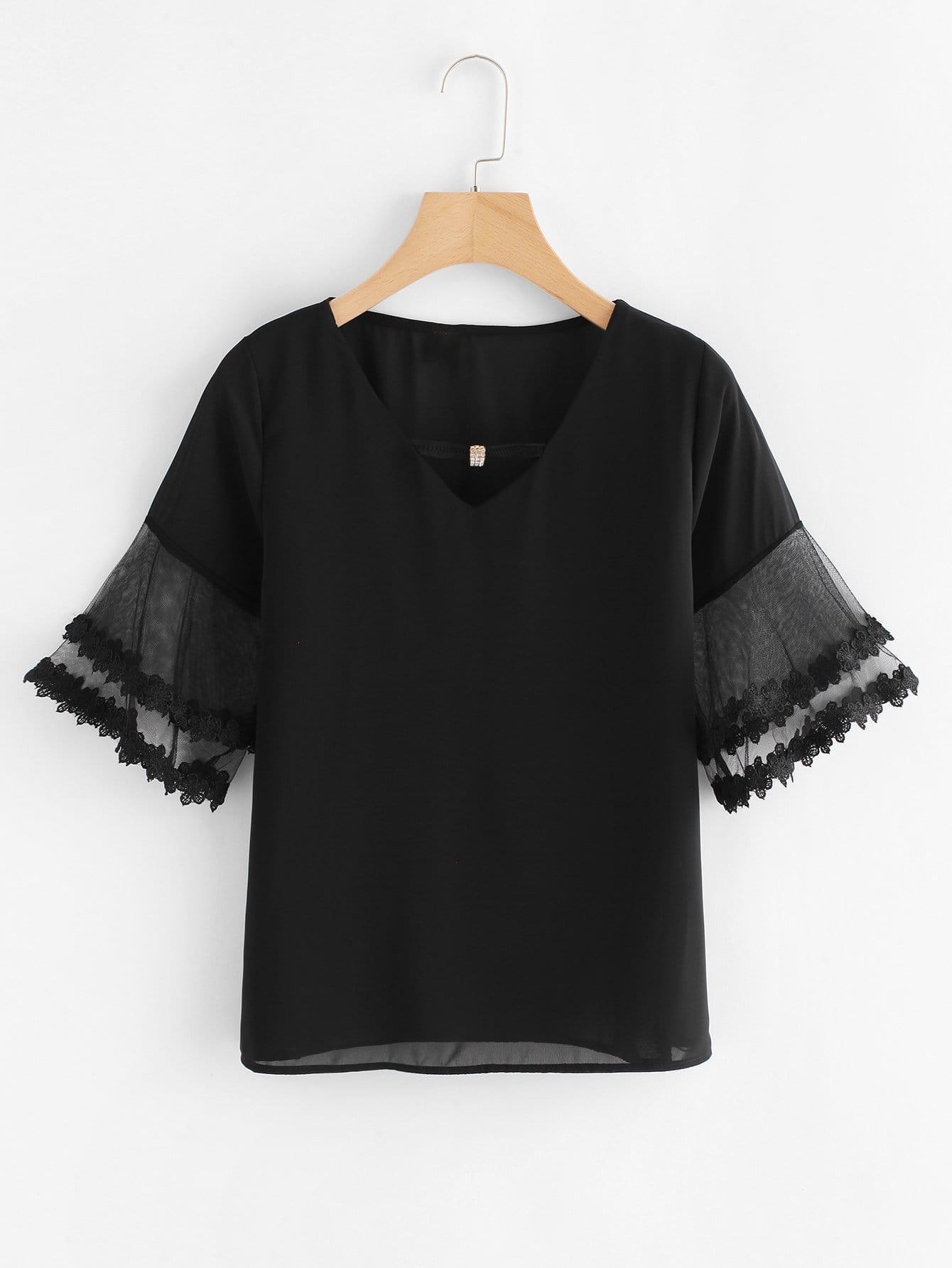 Contrast Mesh Sleeve Lace Trim Top mesh contrast flounce sleeve top