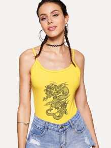 Dragon Print Jersey Bodysuit