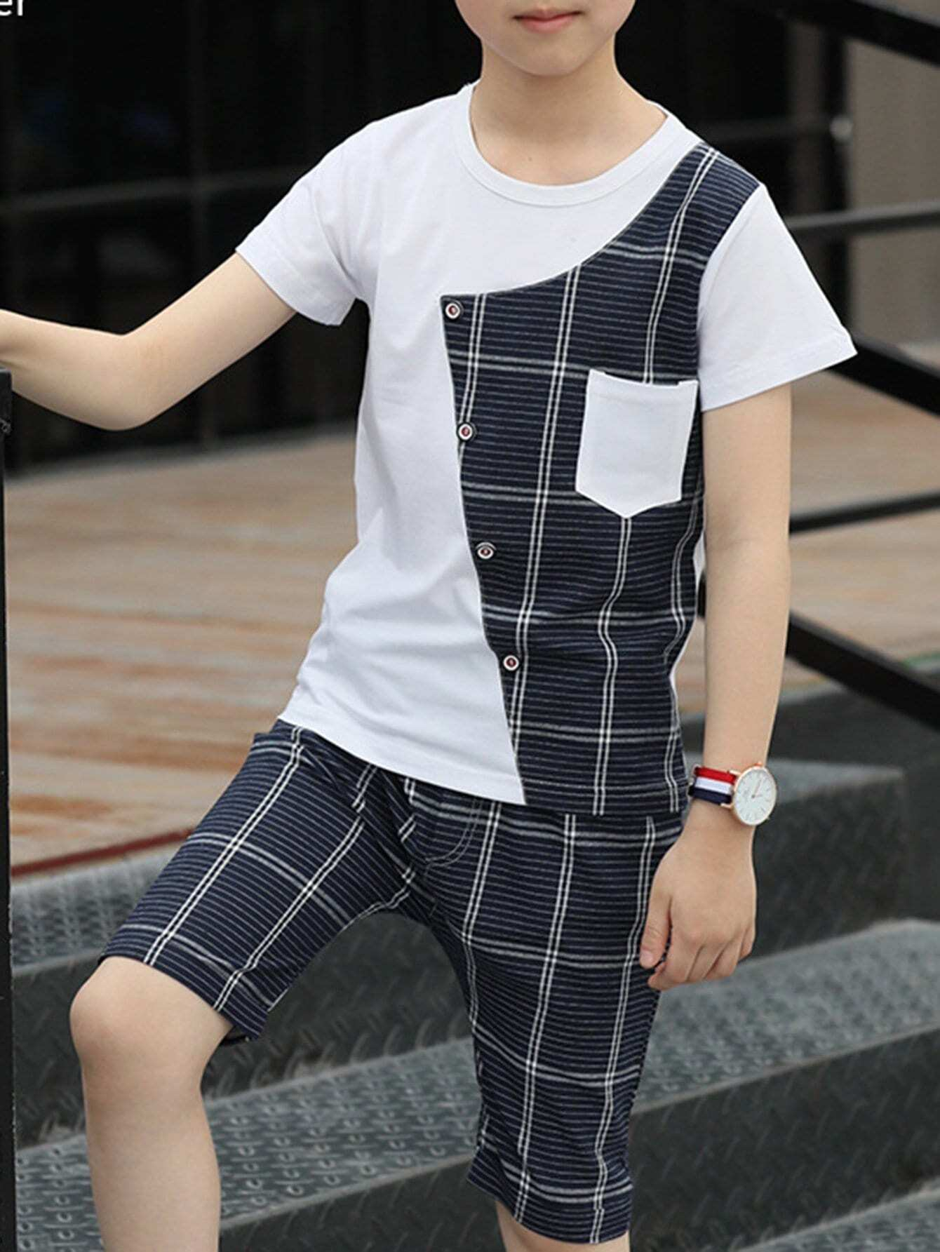 Kids Contrast Plaid Tee With Plaid Shorts