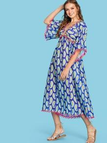 Paisley Print Plunge Pom Pom Dress