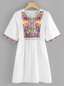 Embroidered Pom Pom Dress