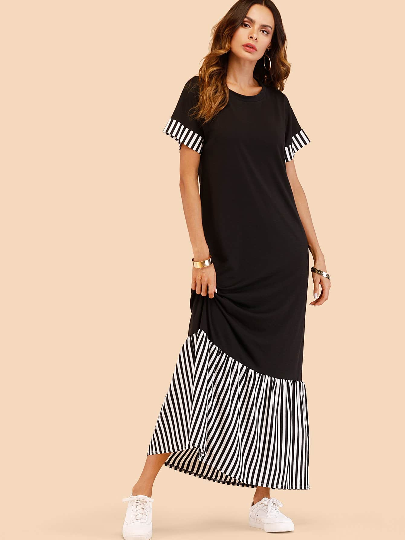Vertical-Striped Patchwork Dress vowel length from latin to romance