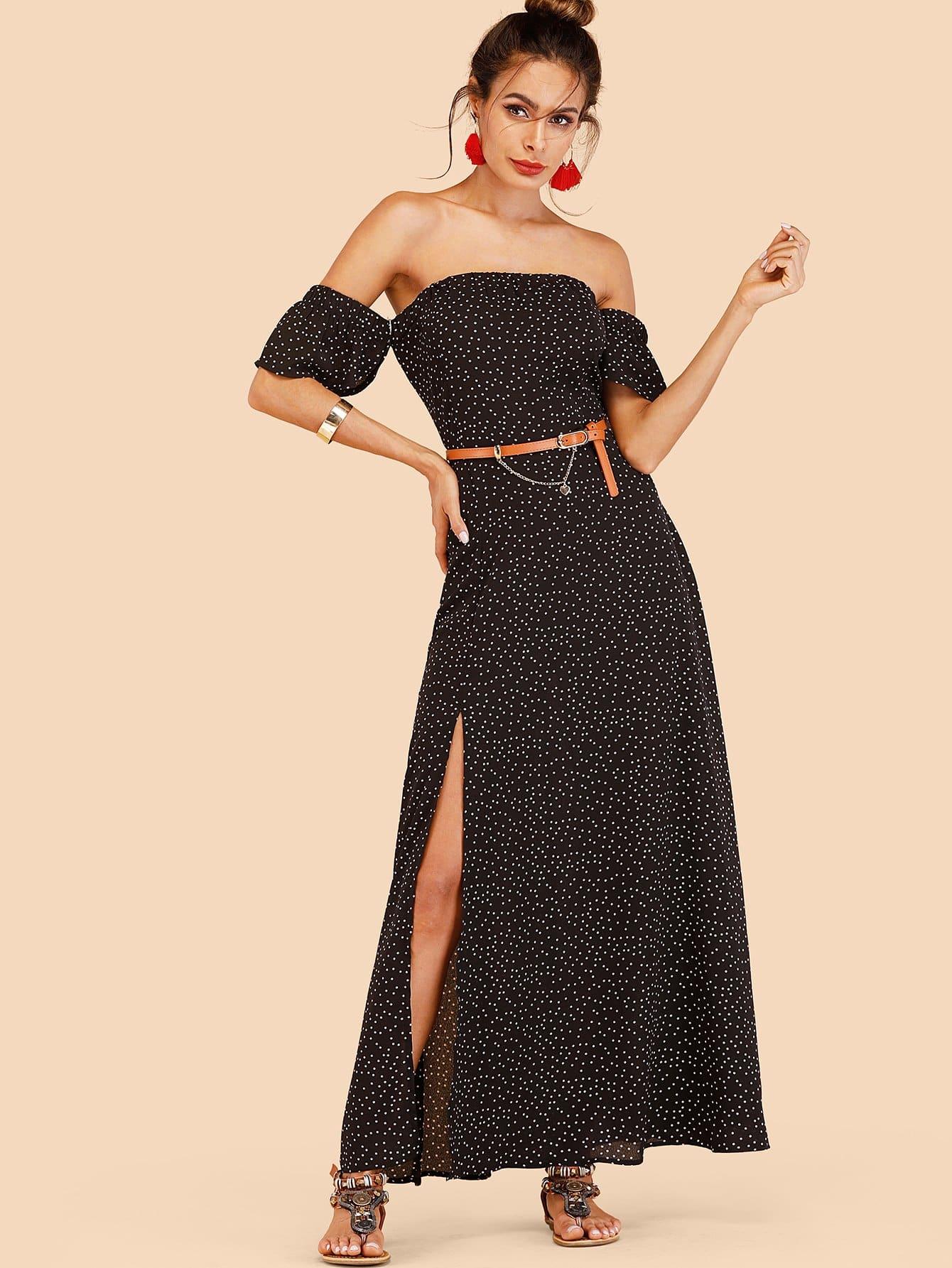 Off Shoulder Polka Dots Dress With Belt drop shoulder marled sweatshirt dress with corset belt