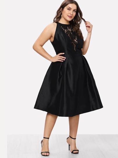 Plus Crochet Lace Patchwork Swing Dress