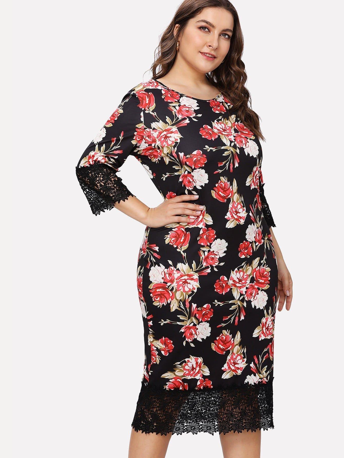 Lace Patchwork Floral Print Dress sunflower print wide legs lace patchwork womens jumpsuits