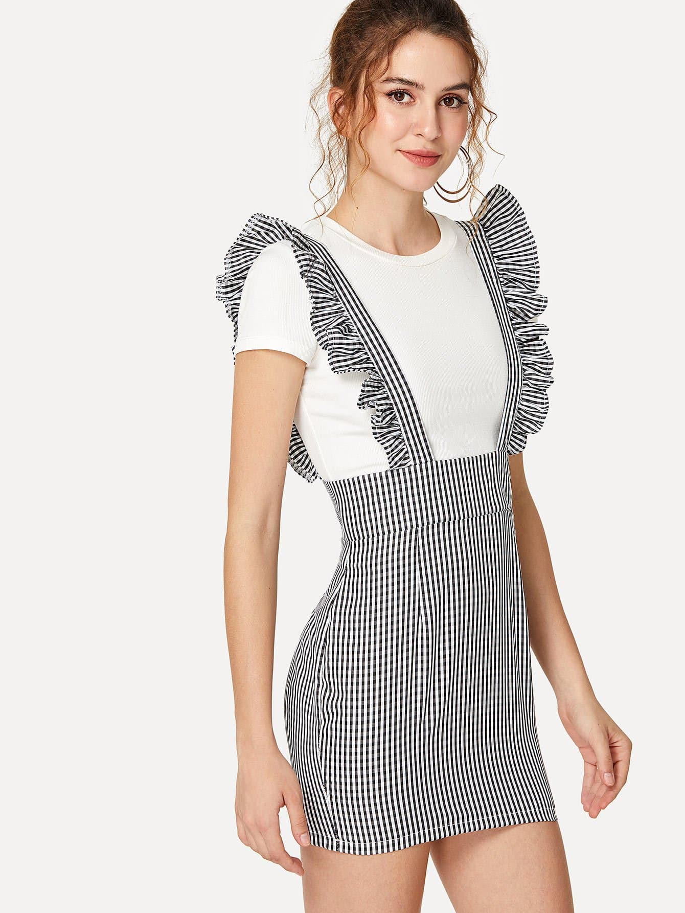 Ruffle Trim Gingham Overall overall anabelle overall