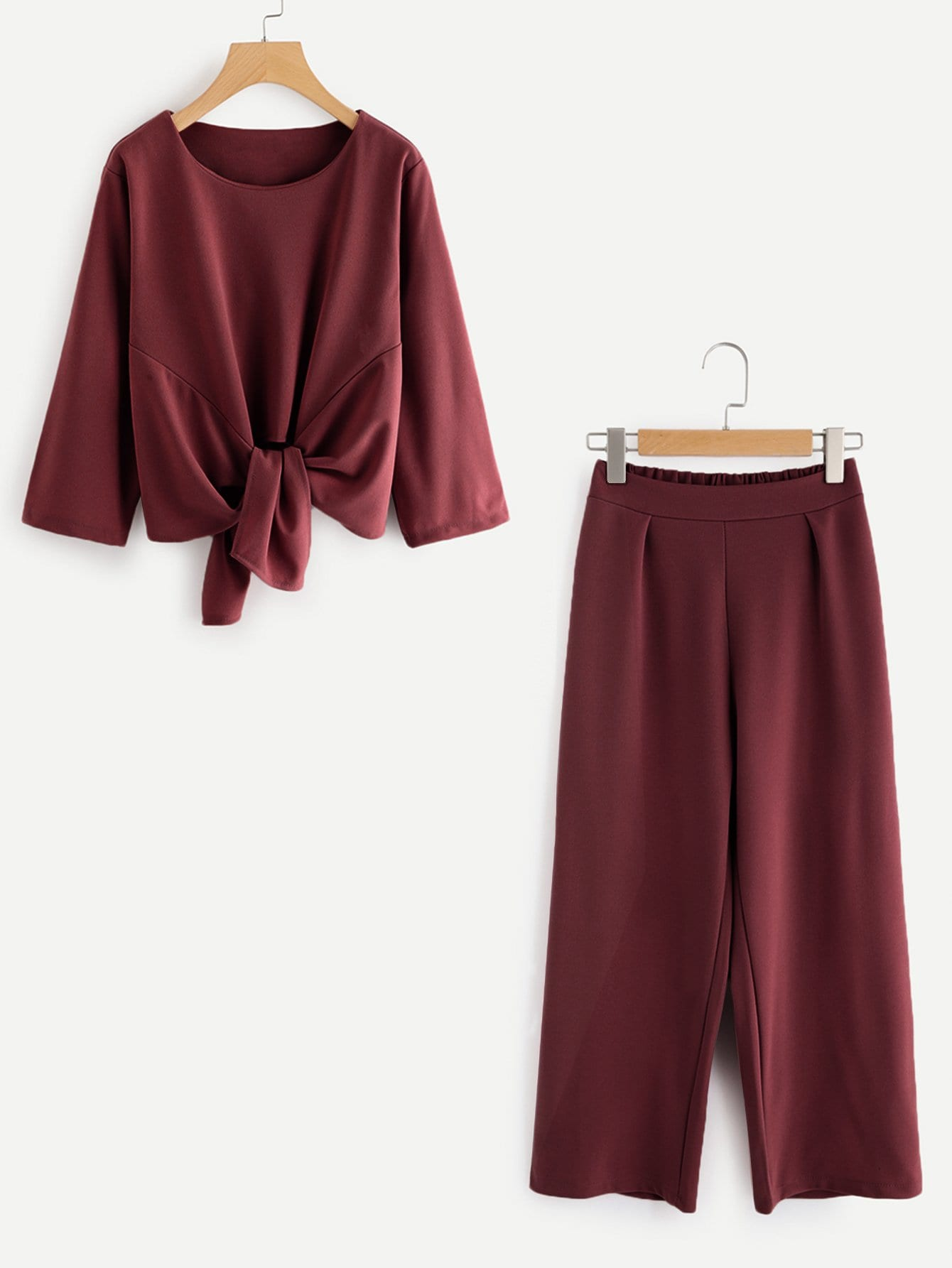 Self Tie Top With Wide Leg Pants bow tie side wide leg pants