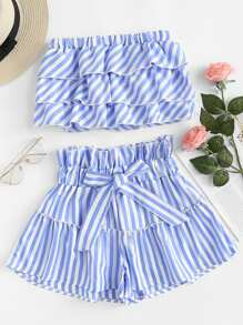 Striped Tiered Tube Top With Ruffle Waist Skirt