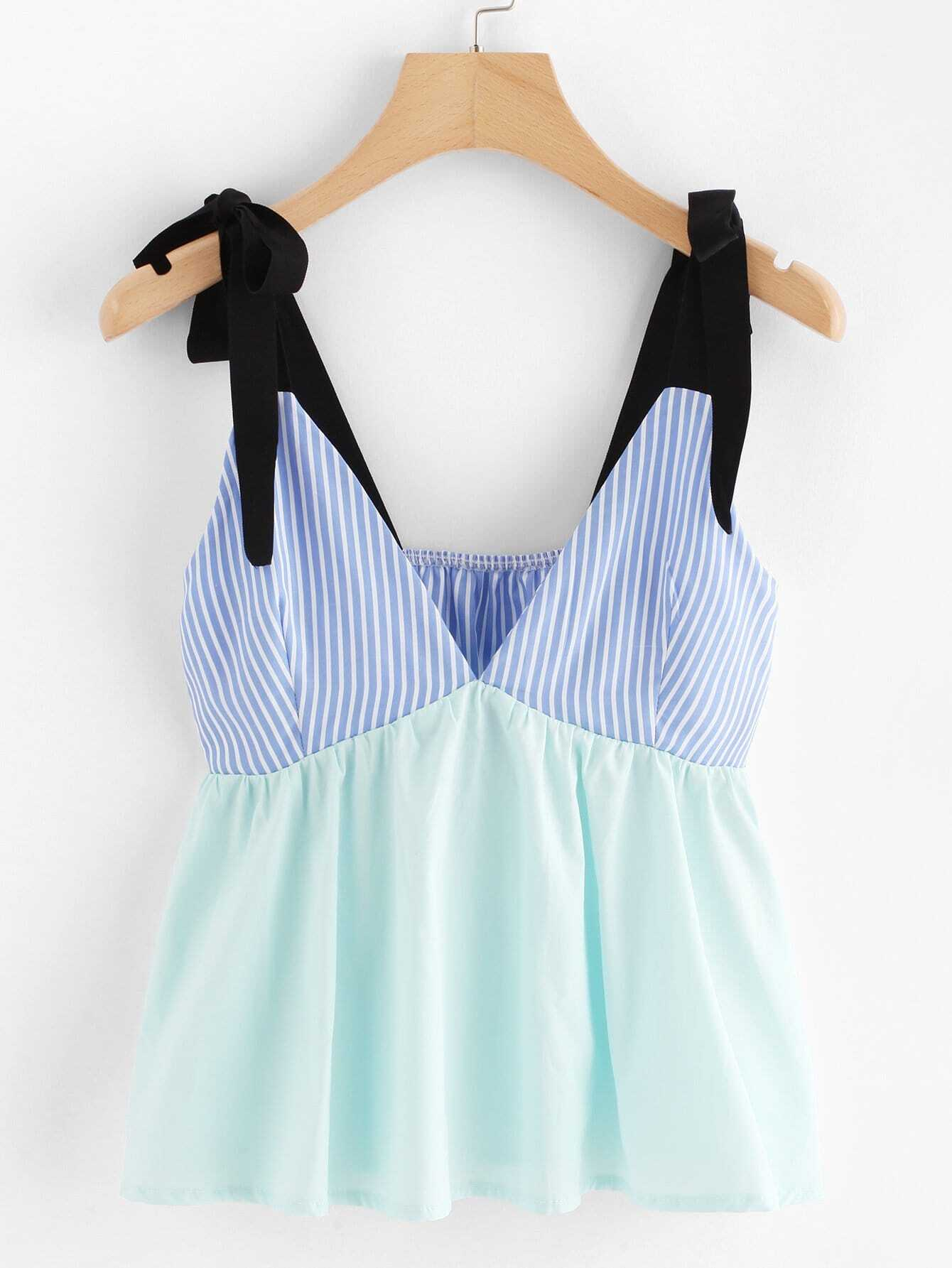 Striped Patchwork Bow Tie Cami Top bow tie striped cami jumpsuit