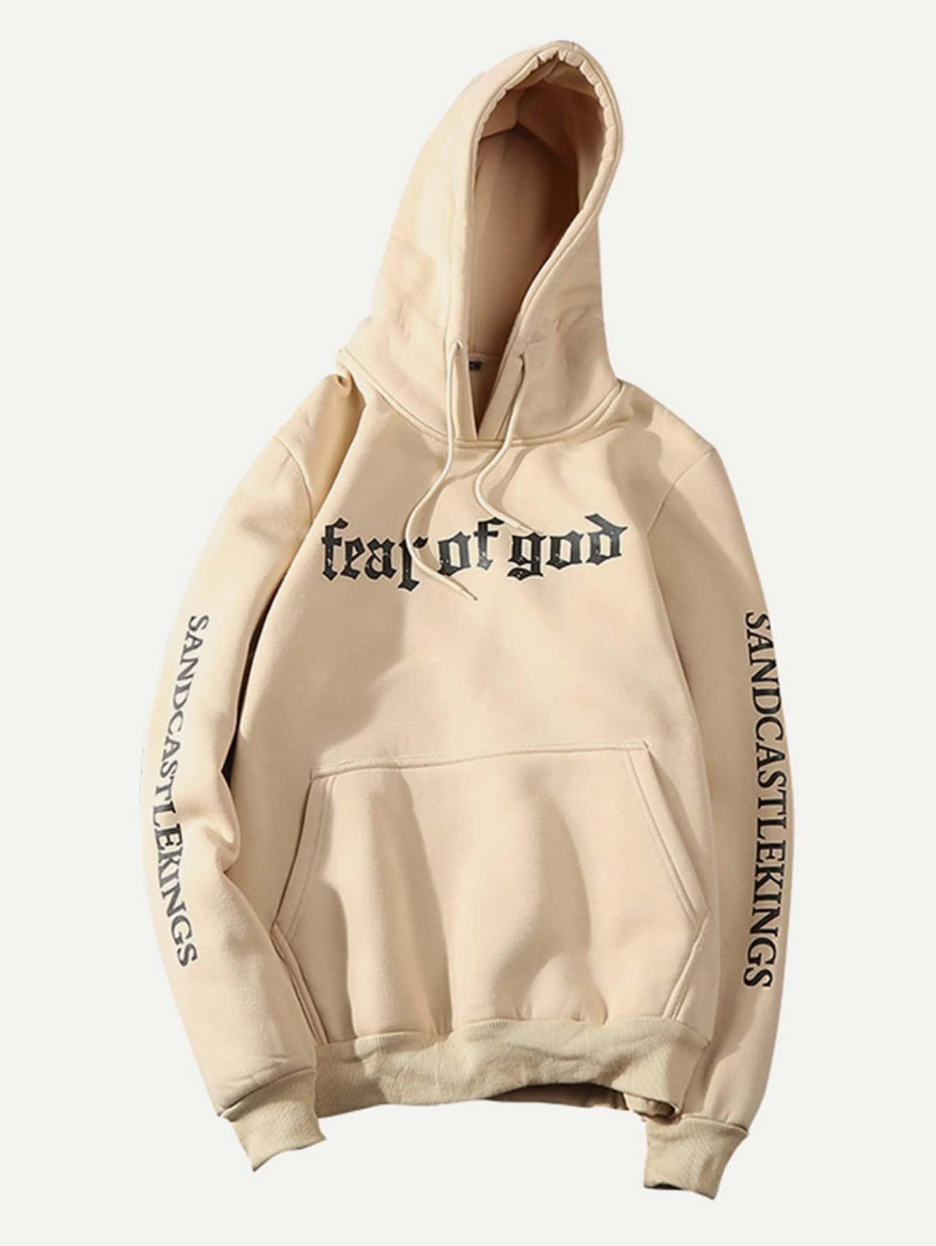 Men Letter Print Side Pocket Hoodie Sweatshirt letter print raglan hoodie